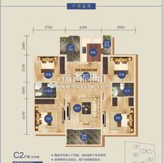書香門第C2戶型(8/9#樓)戶型圖