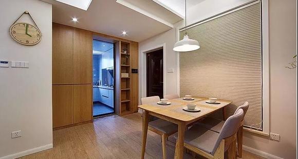 120平简约原木风,书房和客厅连在一起