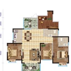 汉帝融城四室二厅二卫户型图
