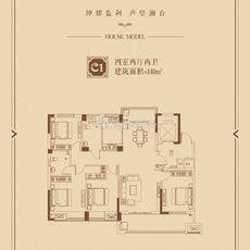 九坤·锦沙澜台C1户型图