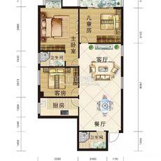 星辰公馆121.29m²户型户型图
