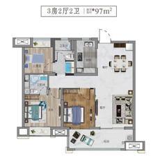 雅居樂·錦城97㎡戶型戶型圖