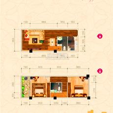 新概念大廈·城心精裝復式公館B戶型戶型圖