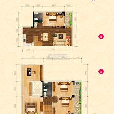 新概念大廈·城心精裝復式公館F戶型戶型圖
