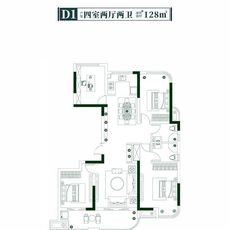 楚天都市信园D1户型户型图